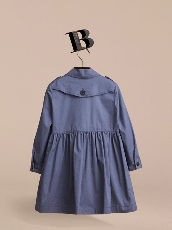 Check Detail Stretch Cotton Trench Dress in Storm Blue - Girl | Burberry - cell image 3