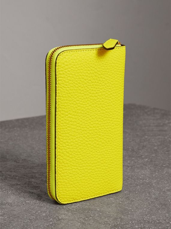 Embossed Leather Ziparound Wallet in Bright Yellow - Women | Burberry United Kingdom - cell image 2