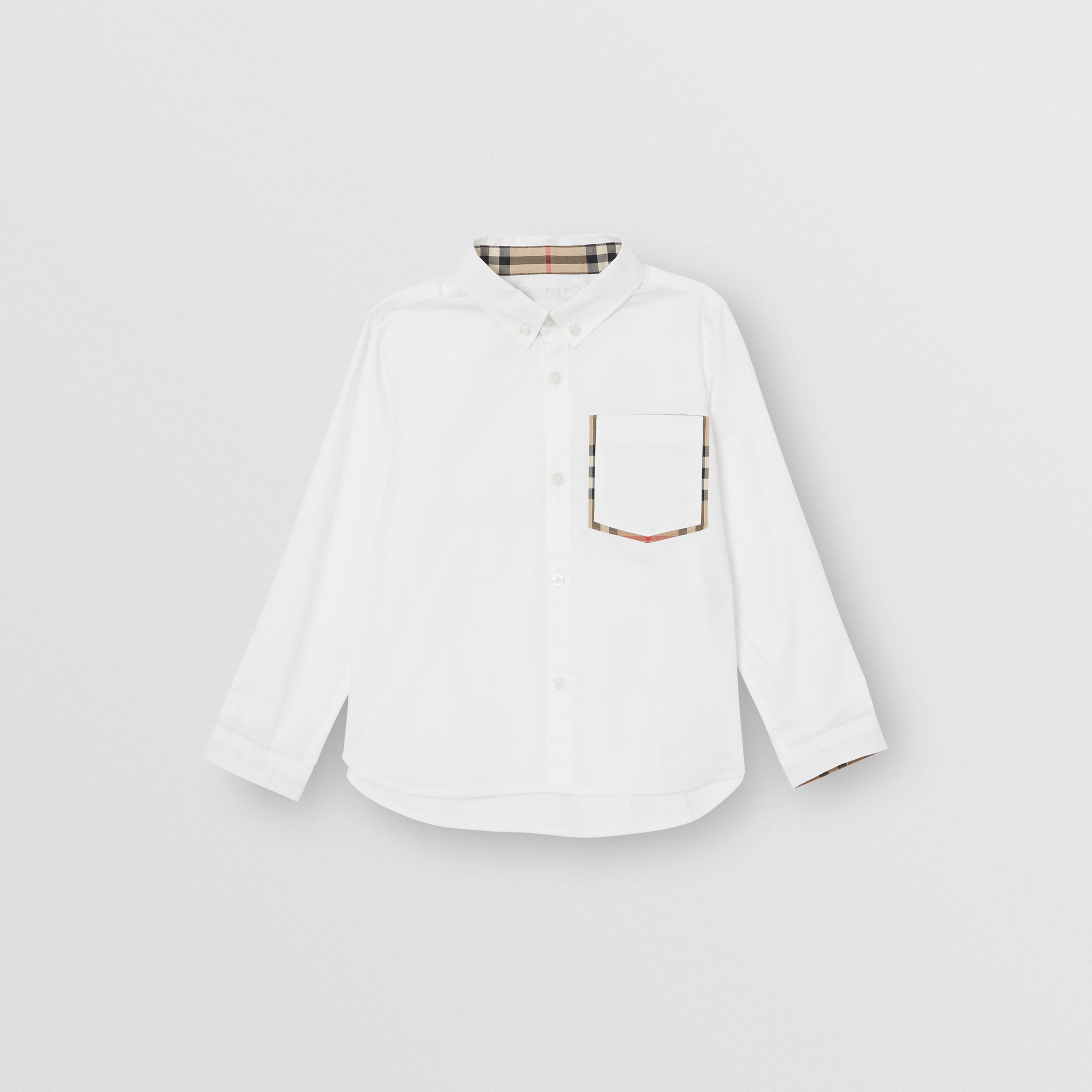 Check Detail Cotton Oxford Shirt in White - Children | Burberry - 1