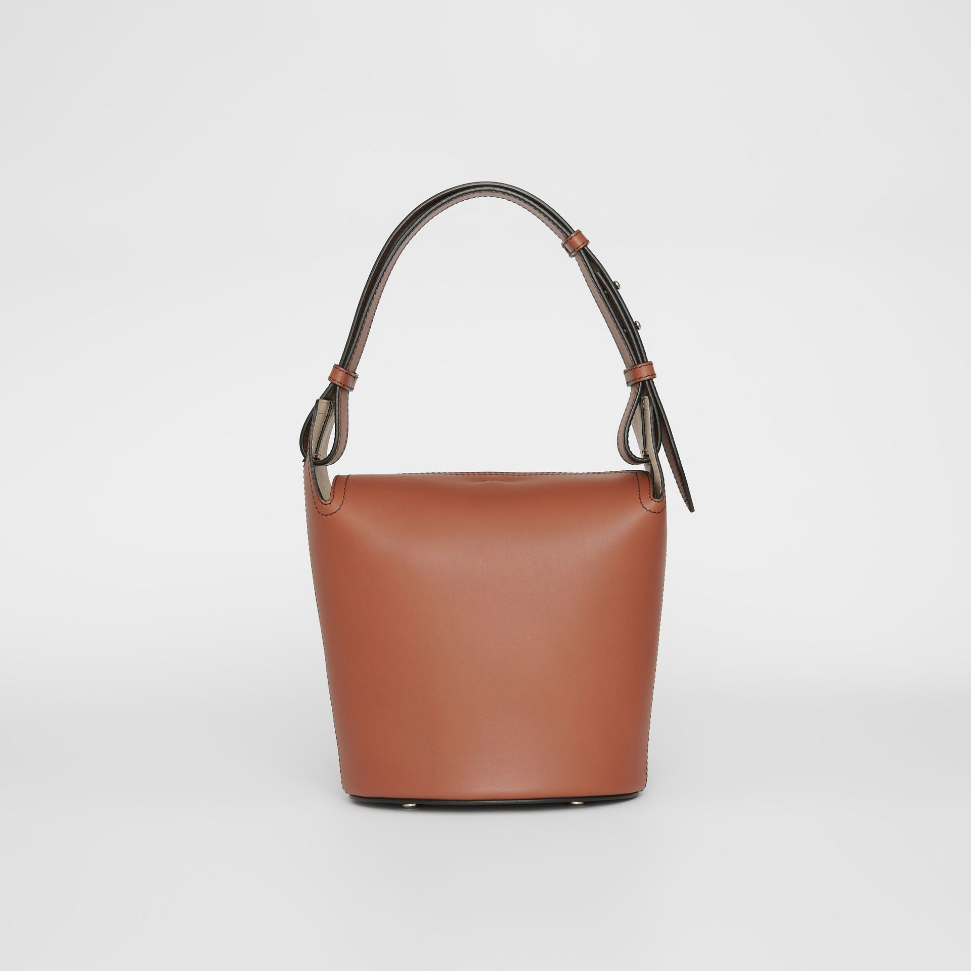 The Small Leather Bucket Bag in Taupe Brown - Women | Burberry - gallery image 5