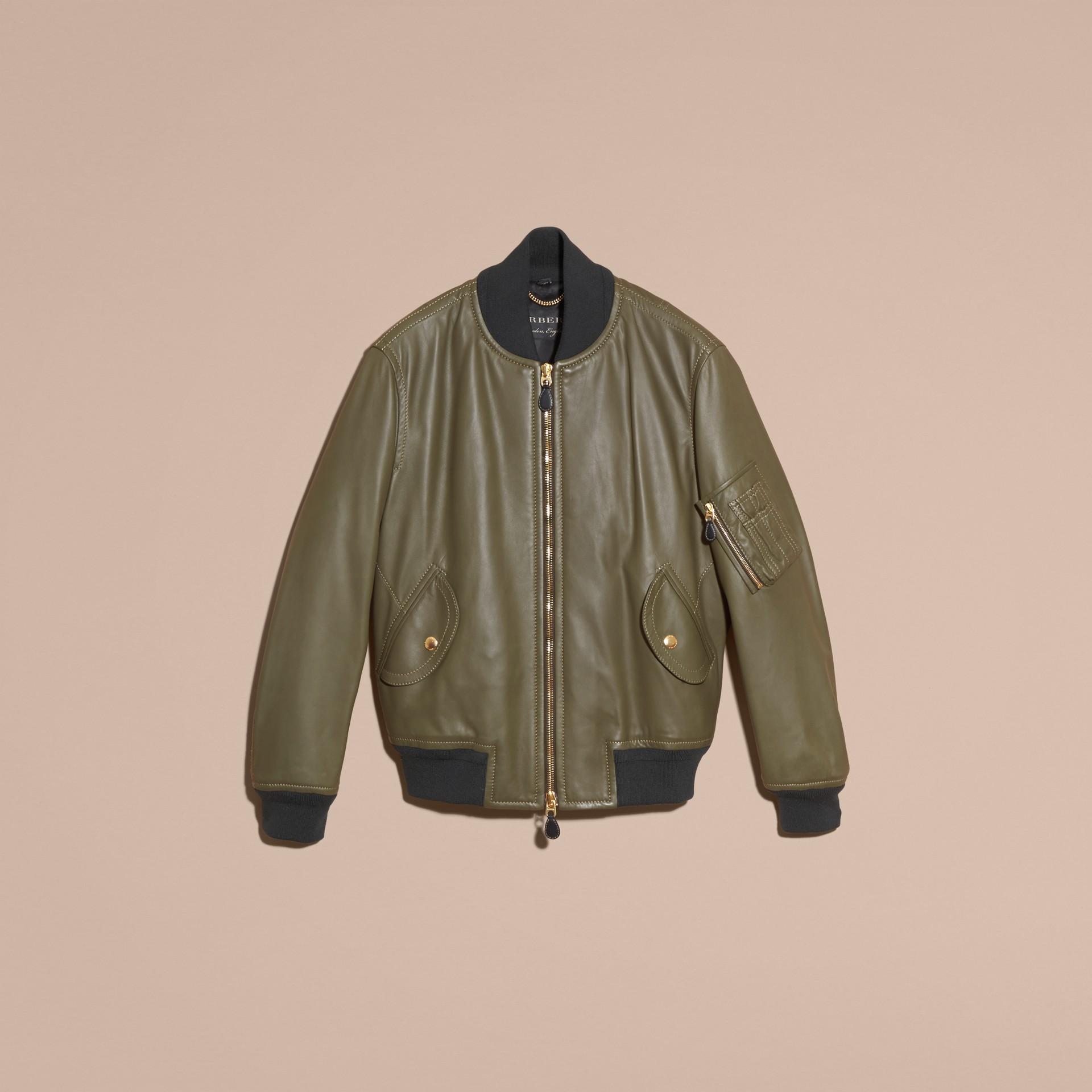 Светлый армейский зеленый Кожаная куртка «пилот» - изображение 4