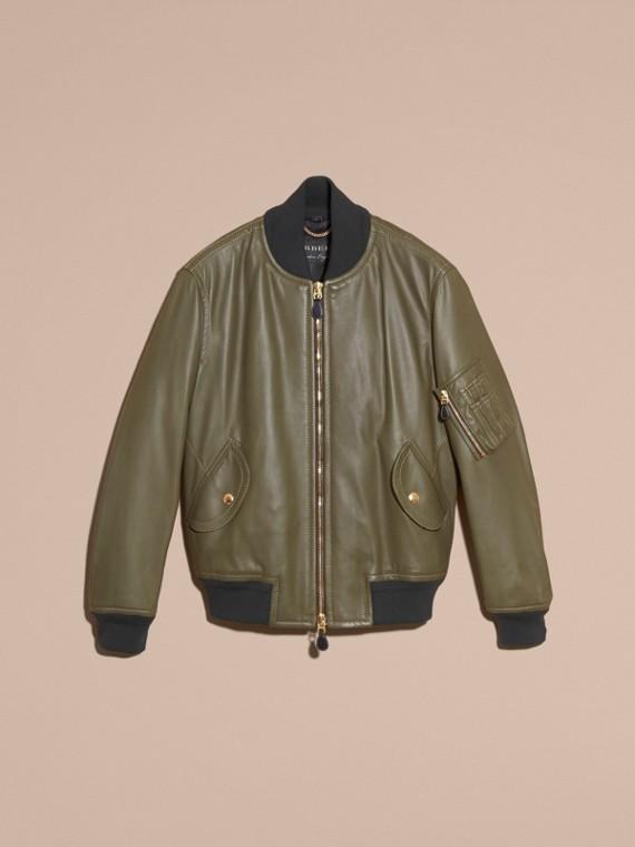 Светлый армейский зеленый Кожаная куртка «пилот» - cell image 3