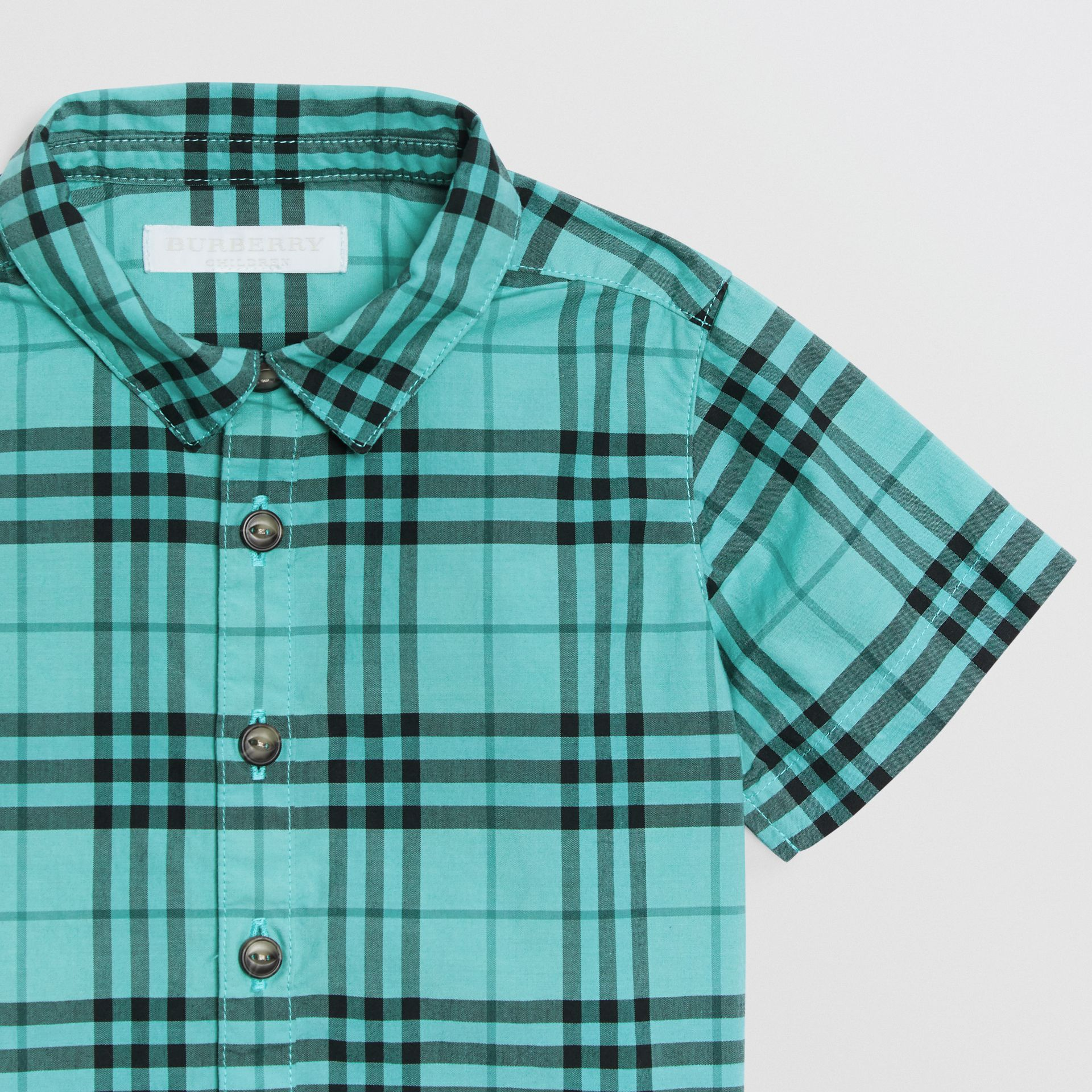 Short-sleeve Check Cotton Shirt in Light Mint - Children | Burberry - gallery image 4