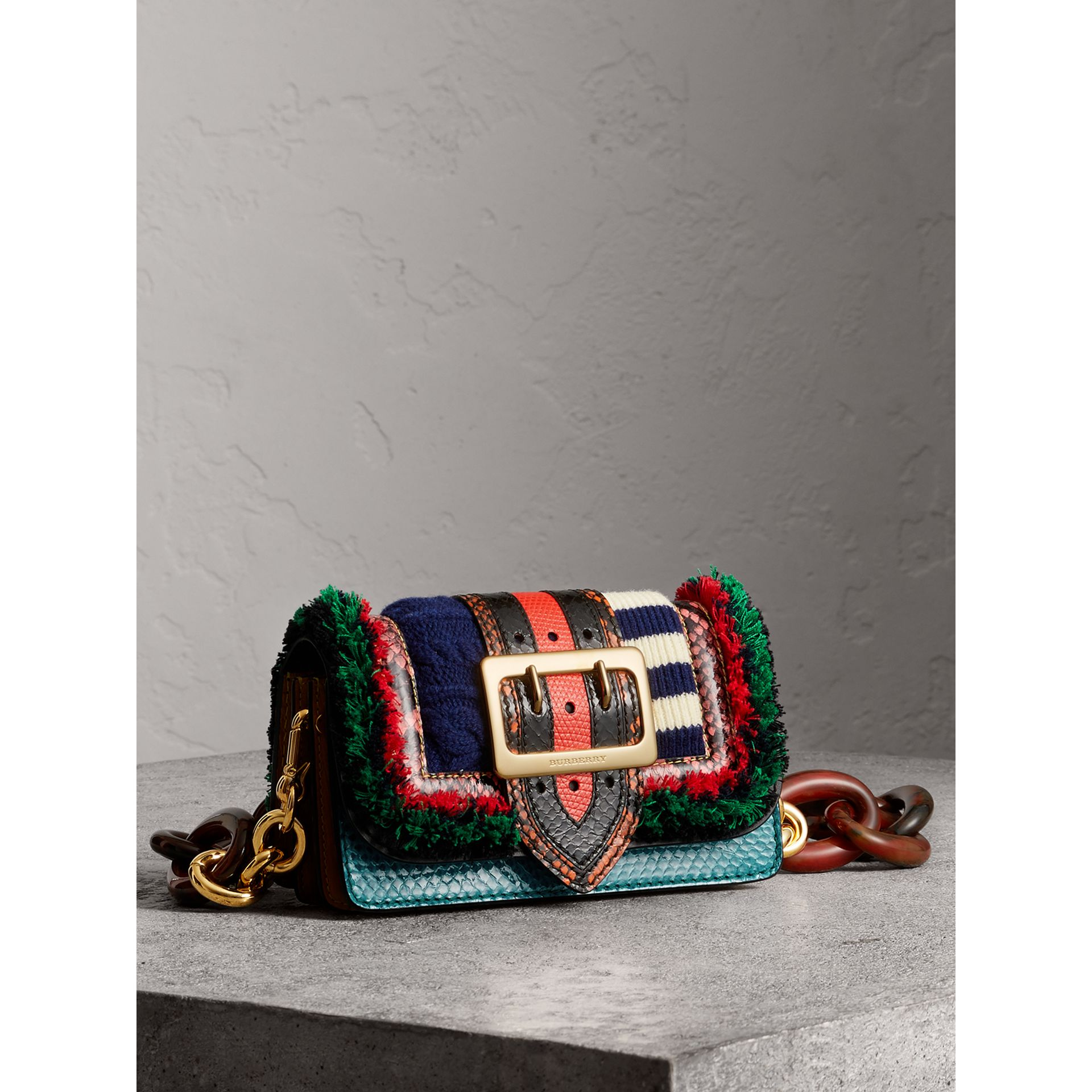 Sac The Patchwork en cuir exotique et maille de laine (Multicolore) - Femme | Burberry - photo de la galerie 7