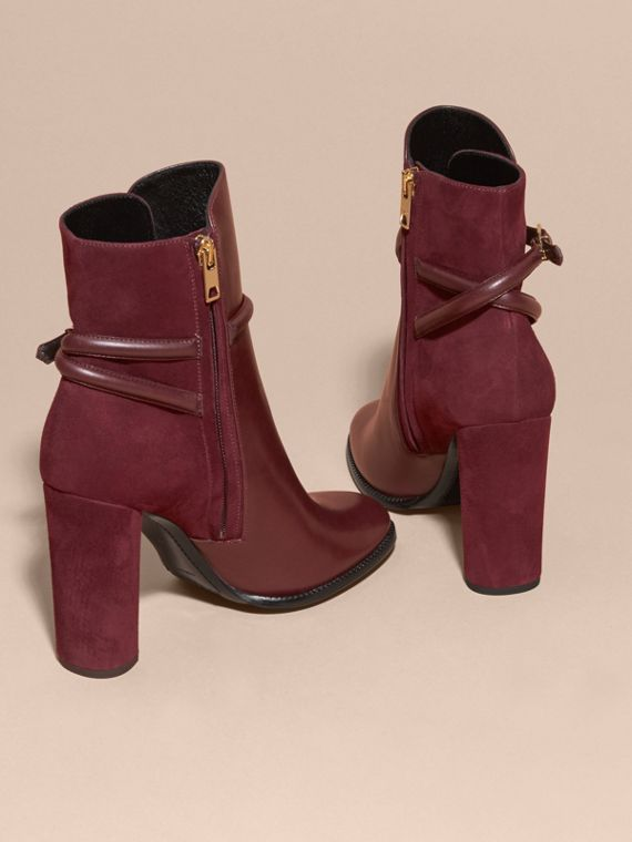 Oxblood Strap Detail Leather and Suede Ankle Boots - cell image 3
