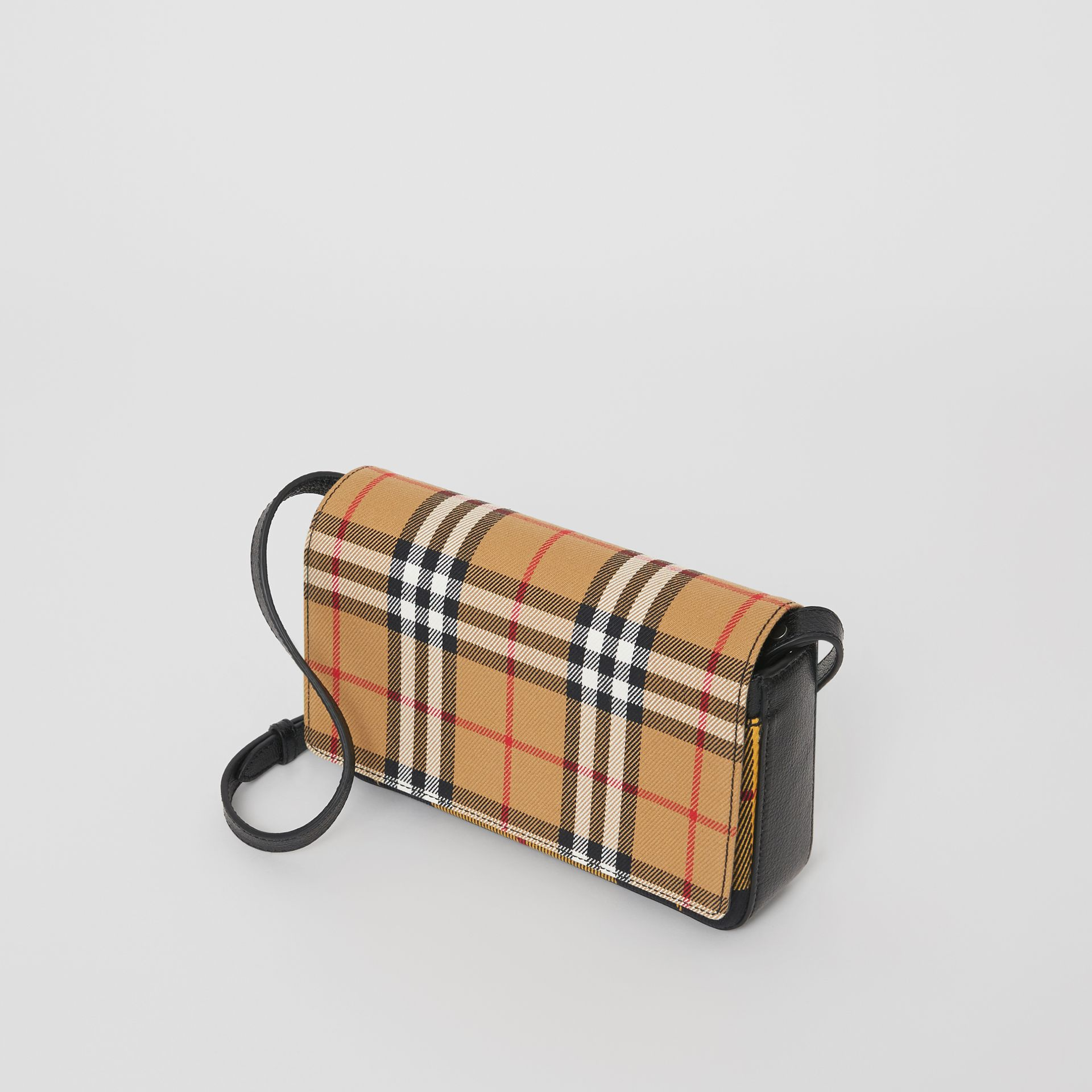 Vintage Check and Leather Wallet with Detachable Strap in Antique Yellow/black - Women | Burberry Australia - gallery image 4