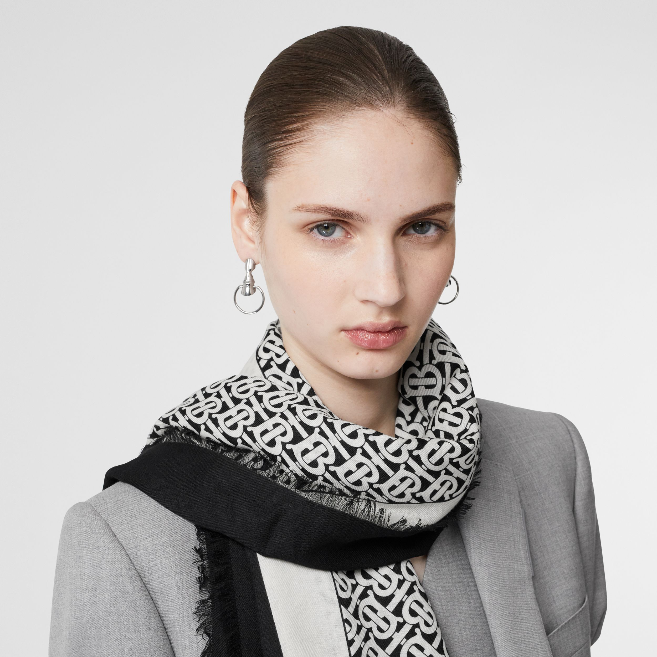Monogram Print Lightweight Cashmere Scarf in Monochrome | Burberry - 3
