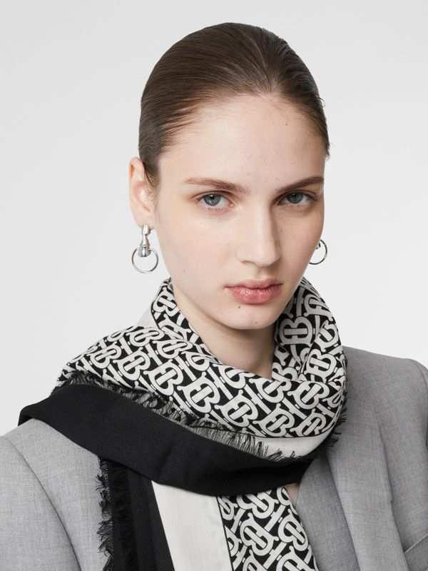 Monogram Print Lightweight Cashmere Scarf in Monochrome | Burberry - cell image 2