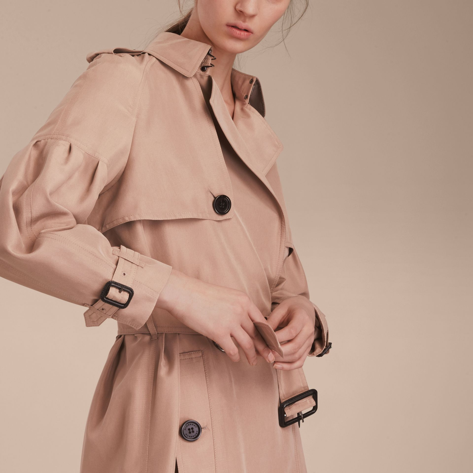Oversize Silk Trench Coat with Puff Sleeves in Nude - gallery image 6