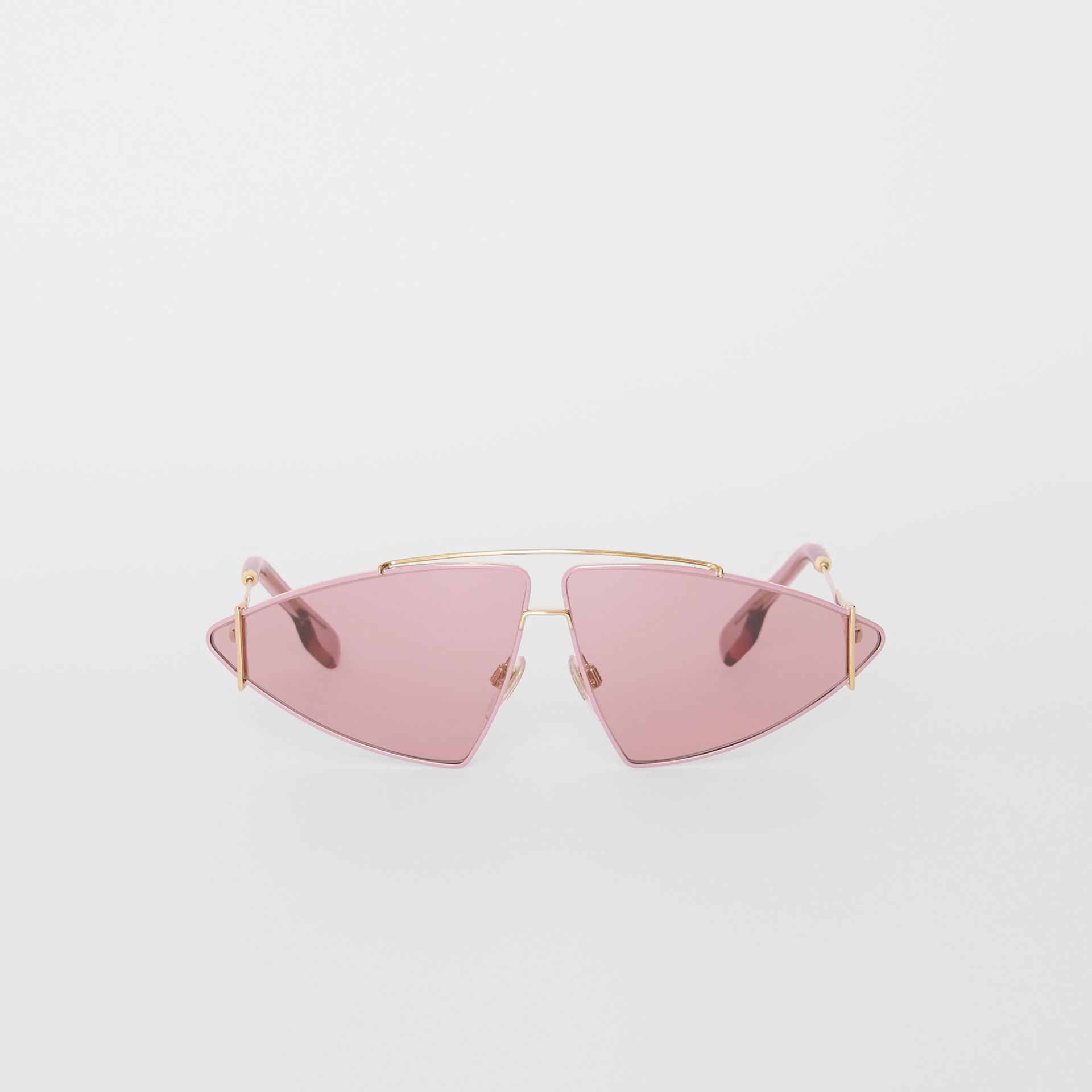 Gold-plated Triangular Frame Sunglasses in Blush Pink - Women | Burberry - gallery image 0