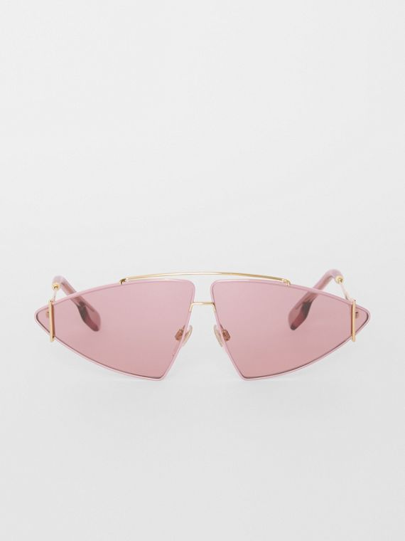 Gold-plated Triangular Frame Sunglasses in Blush Pink