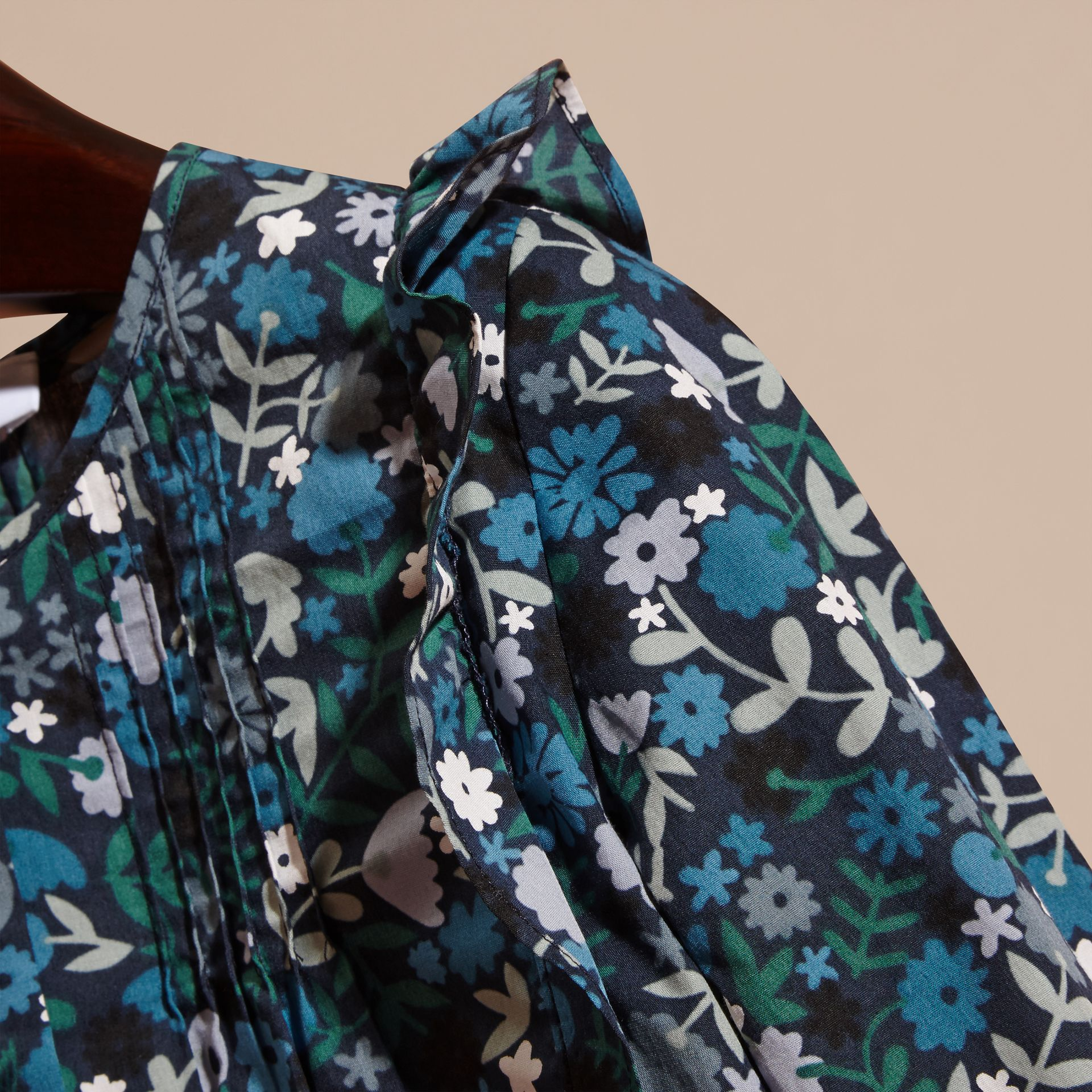 Hydrangea blue Floral Print Cotton Shirt with Ruffle Detail Hydrangea Blue - gallery image 2
