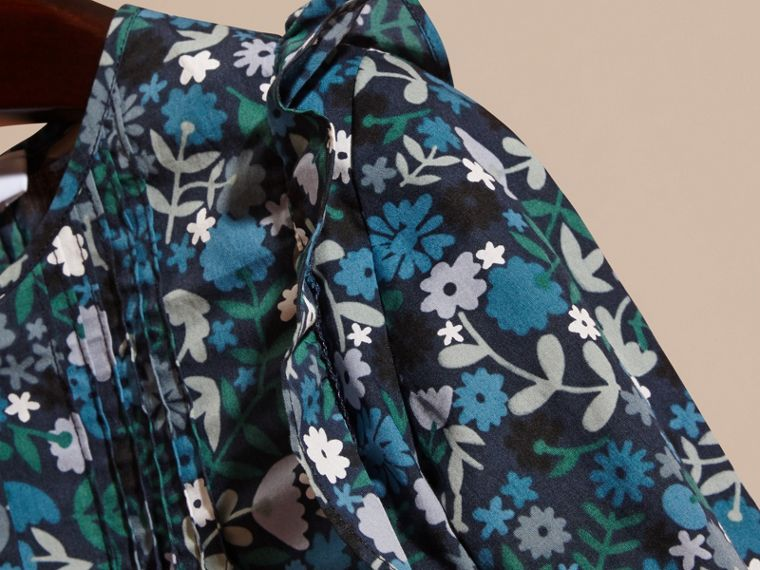 Hydrangea blue Floral Print Cotton Shirt with Ruffle Detail Hydrangea Blue - cell image 1