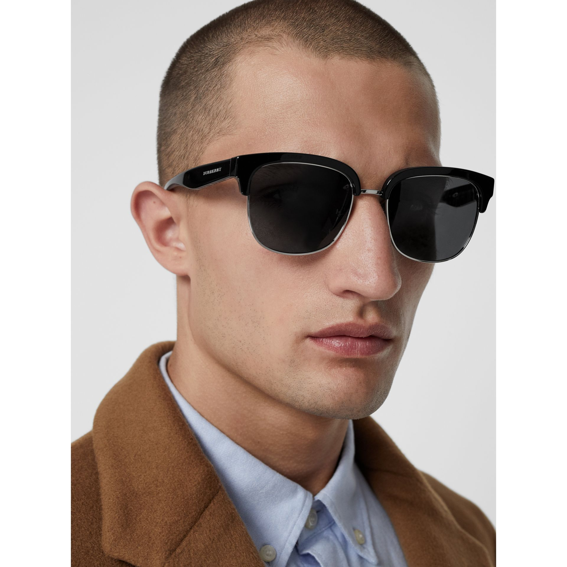 Check Detail D-frame Sunglasses in Black - Men | Burberry - gallery image 3