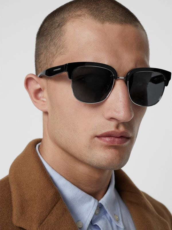 Check Detail D-frame Sunglasses in Black - Men | Burberry - cell image 3