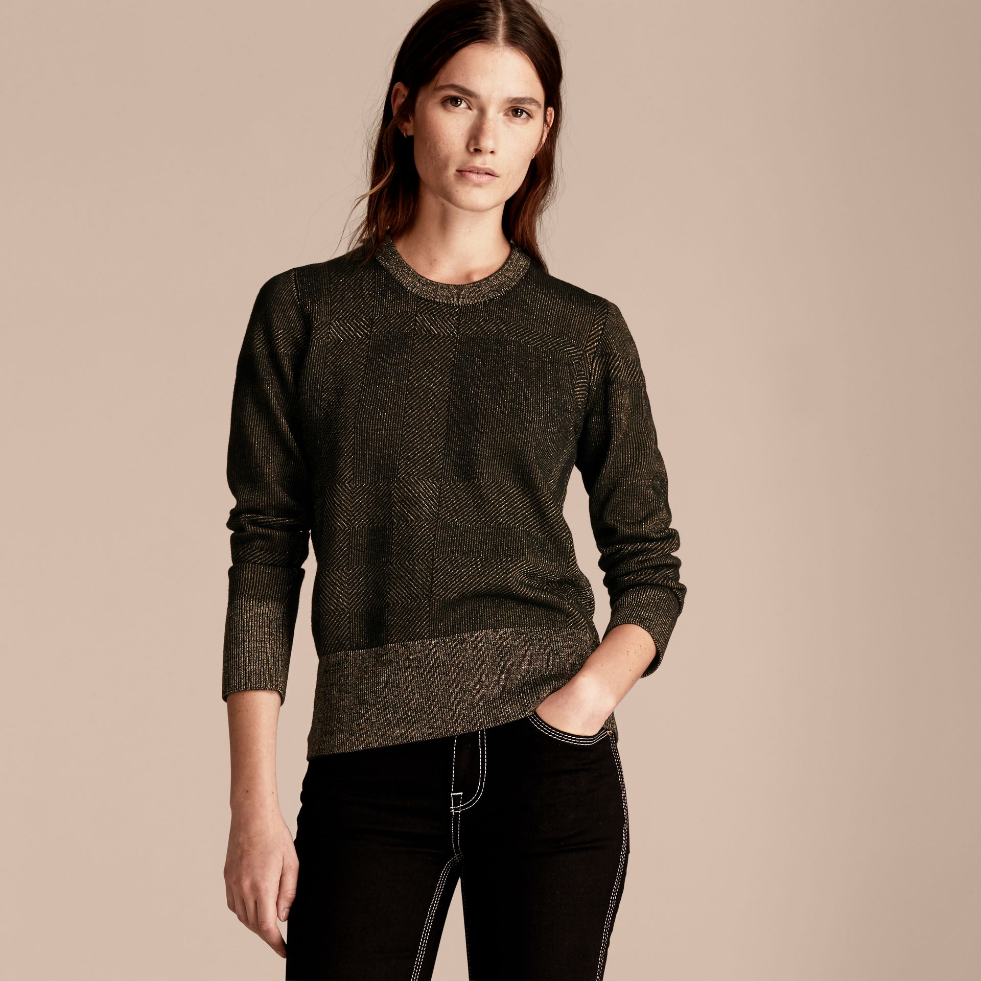 Black Metallic Check Wool Blend Sweater - gallery image 6