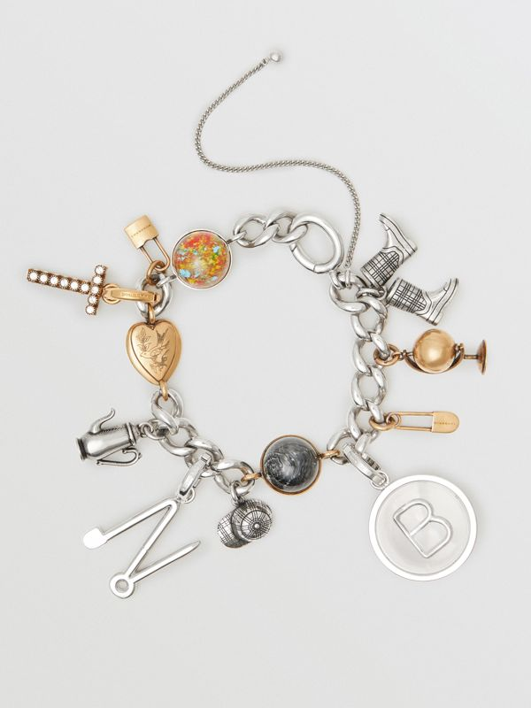 Kilt Pin 'M' Alphabet Charm in Palladio - Women | Burberry United Kingdom - cell image 2