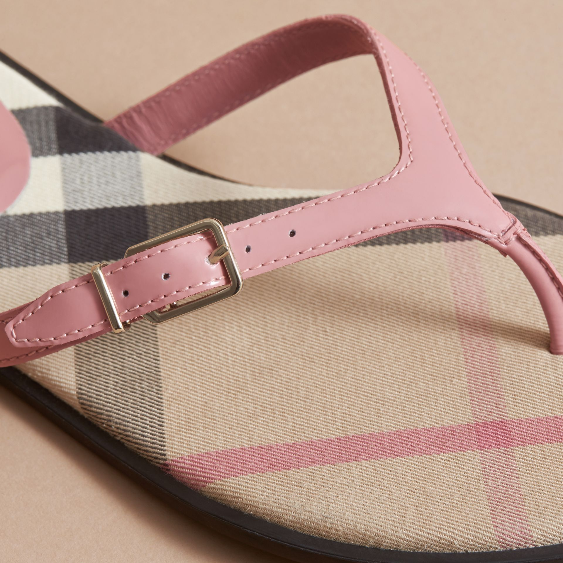 House Check and Patent Leather Sandals in Nude Pink - Women | Burberry - gallery image 1