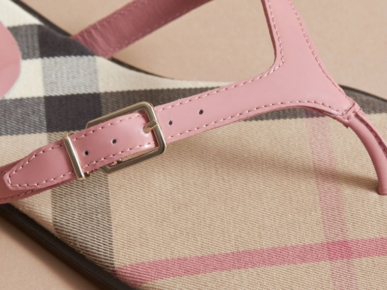 House Check and Patent Leather Sandals in Nude Pink - Women | Burberry - cell image 1