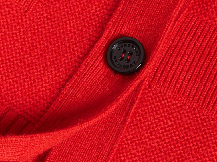 Check-knit Wool Cashmere Cardigan in Bright Military Red - cell image 1