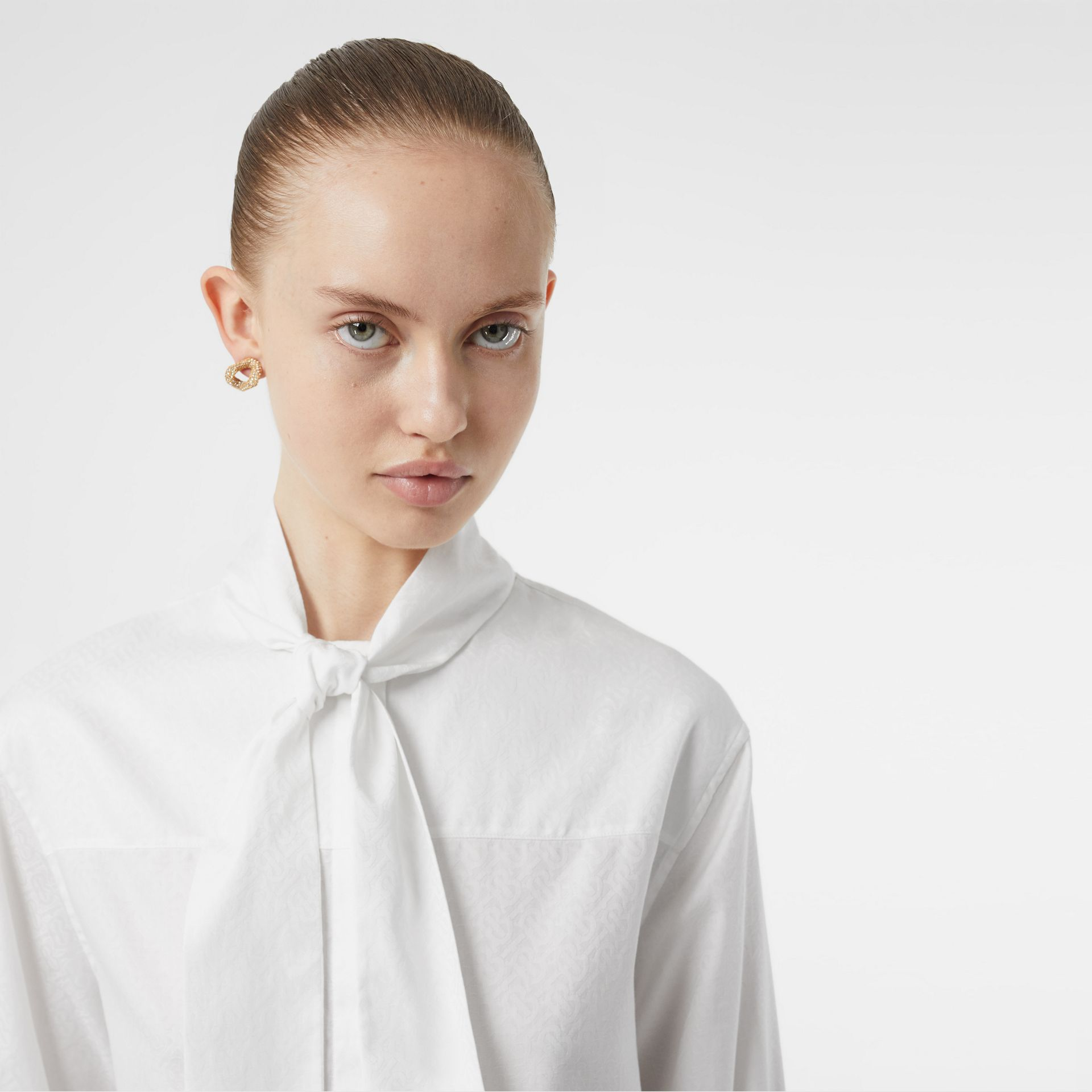 Monogram Cotton Jacquard Tie-neck Shirt in Optic White - Women | Burberry - gallery image 4