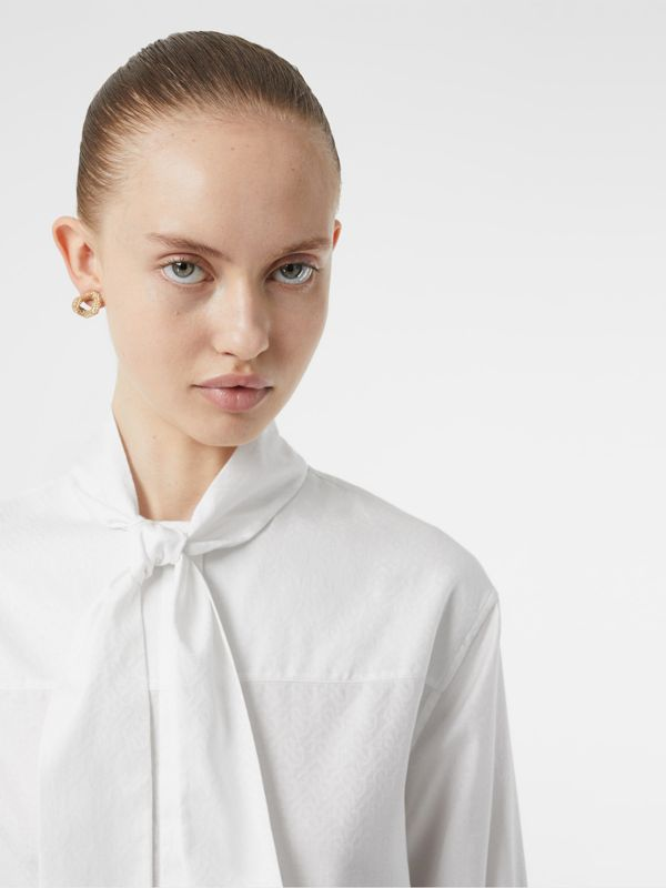 Monogram Cotton Jacquard Tie-neck Shirt in Optic White - Women | Burberry - cell image 3