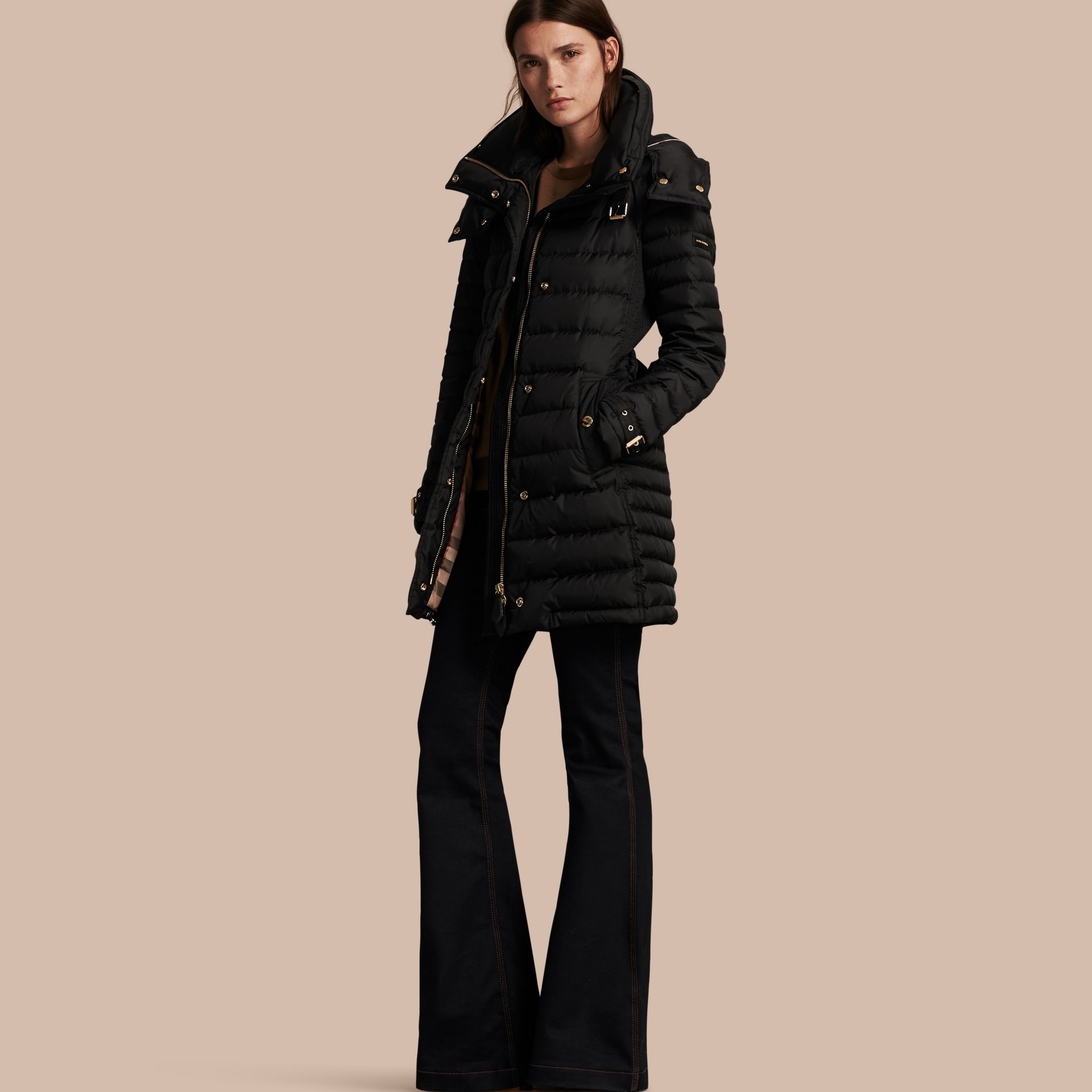Down-filled Puffer Jacket with Packaway Hood in Black - Women | Burberry - gallery image 1