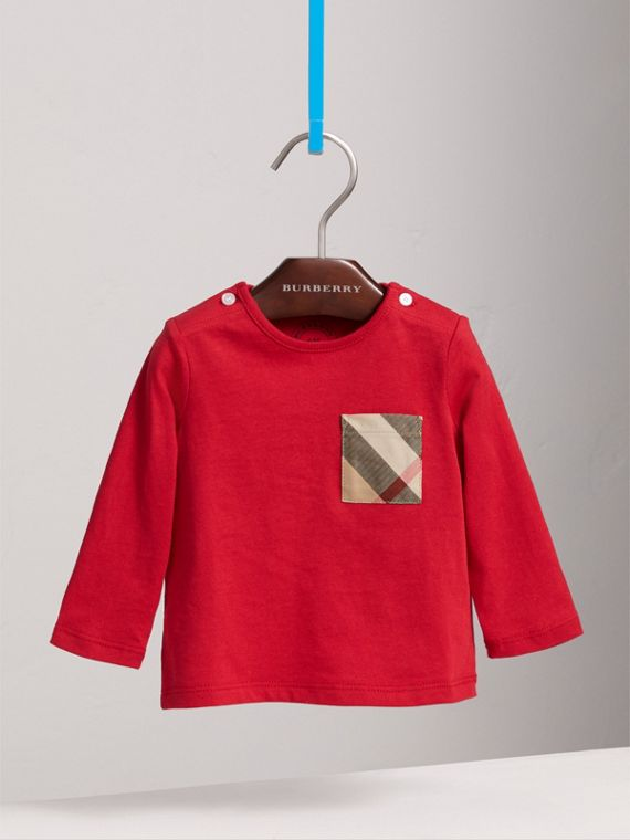 Long-sleeve Check Pocket Cotton Top in Military Red
