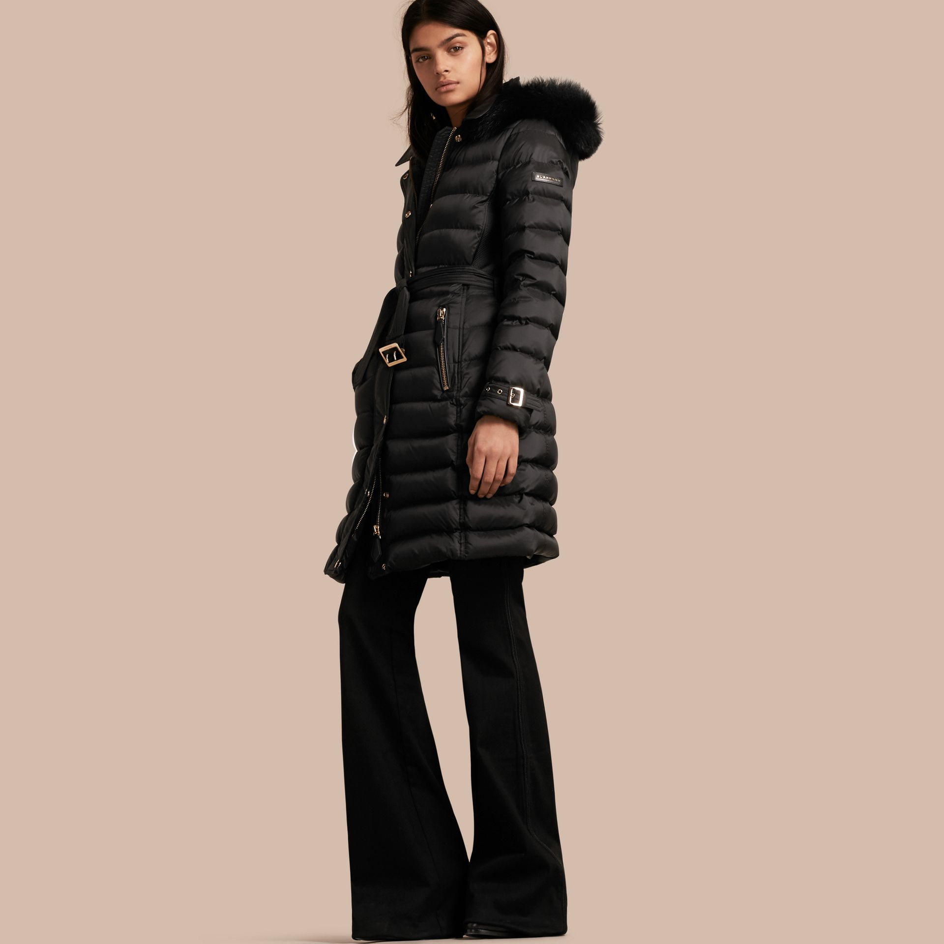 Down-filled Coat with Fox Fur Trim Hood in Black - Women | Burberry - gallery image 1