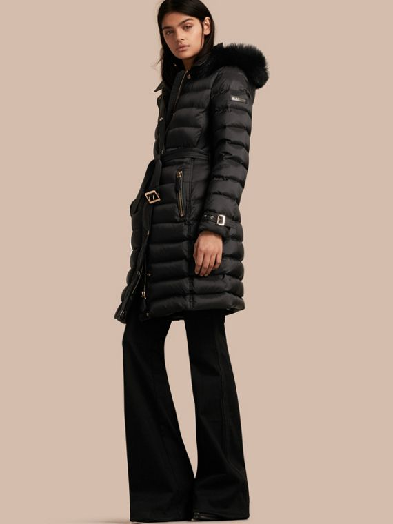 Down-filled Coat with Fox Fur Trim Hood Black