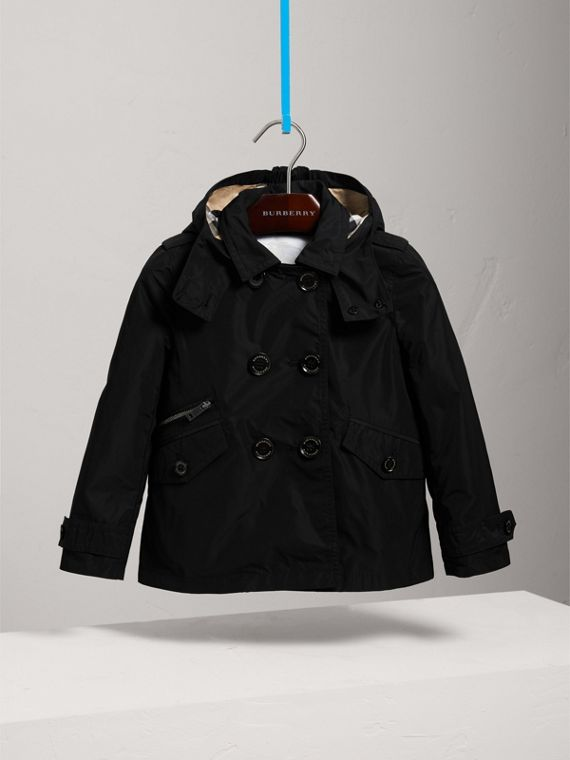 Detachable Hood Shape-memory Taffeta Trench Coat in Black - Girl | Burberry - cell image 2