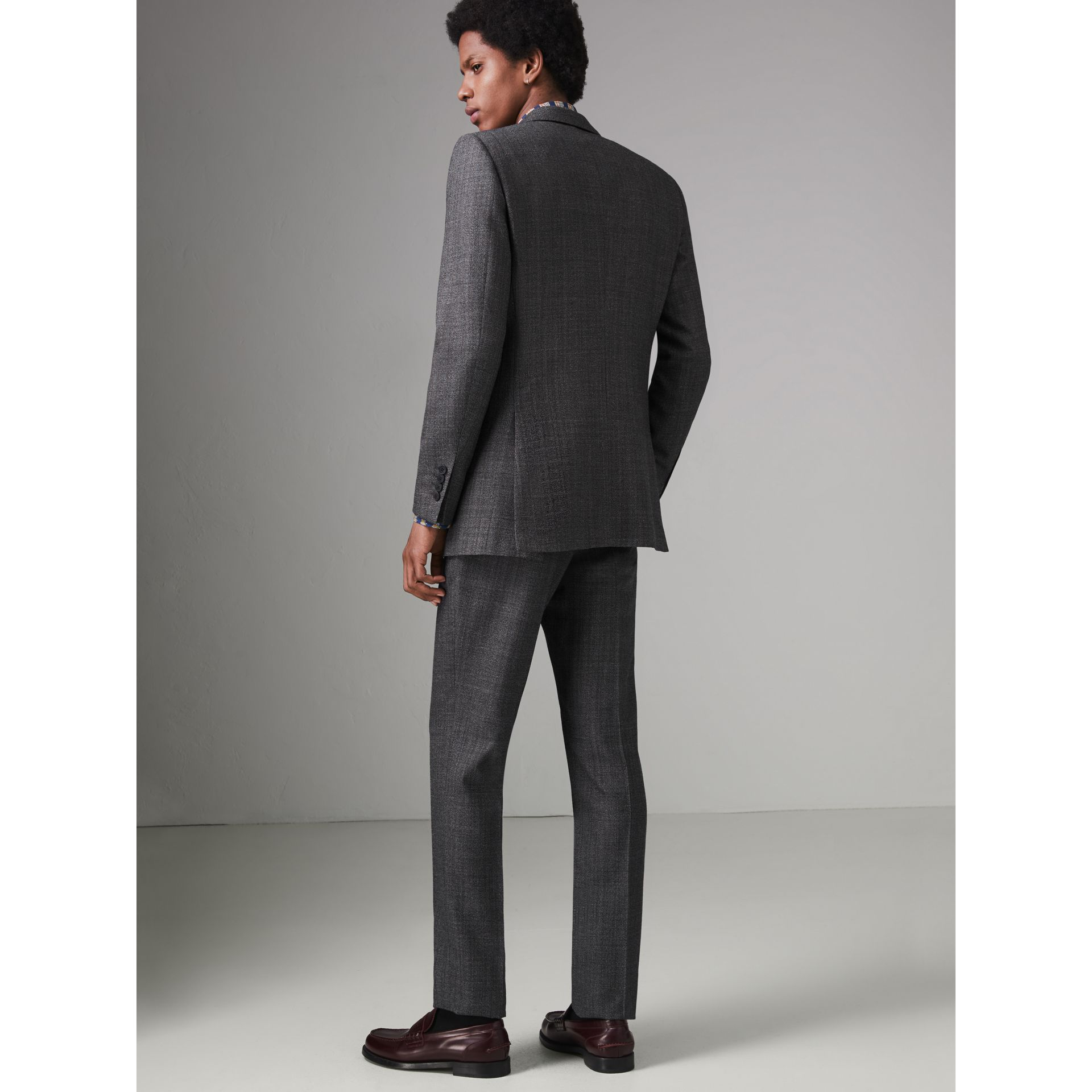 Slim Fit English Pinstripe Wool Suit in Mid Grey Melange - Men | Burberry - gallery image 2