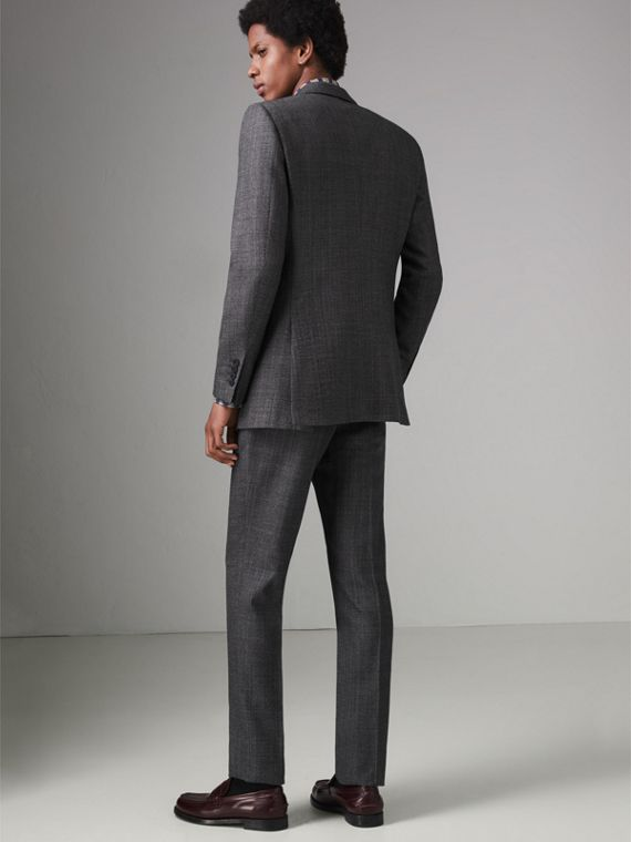 Slim Fit English Pinstripe Wool Suit in Mid Grey Melange - Men | Burberry - cell image 2