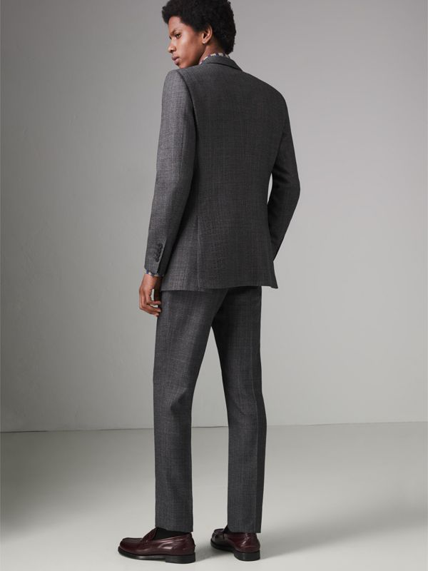 Slim Fit English Pinstripe Wool Suit in Mid Grey Melange - Men | Burberry Canada - cell image 2