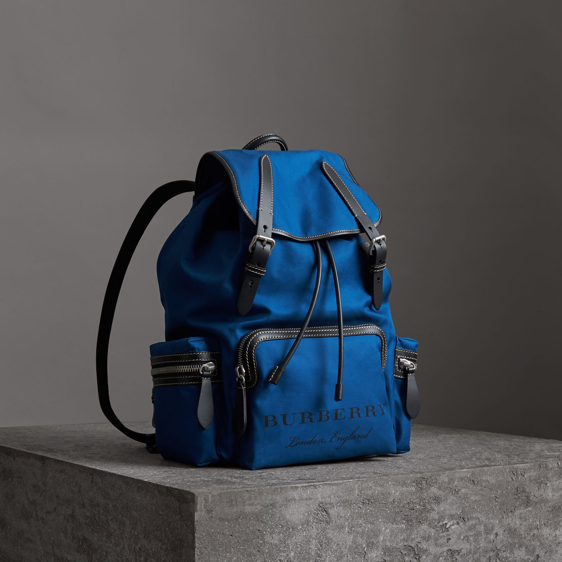 The Large Rucksack in Cotton Canvas in Bright  Blue - Men | Burberry - gallery image 0