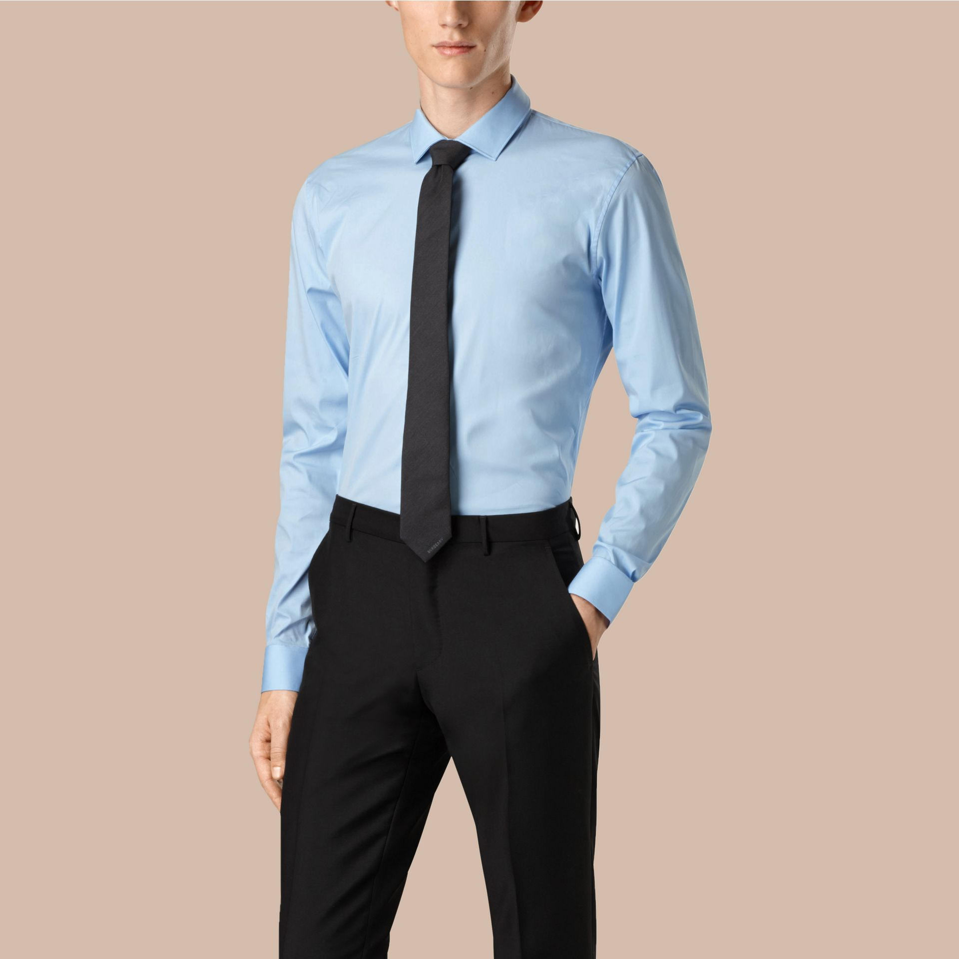 Slim Fit Cotton Poplin Shirt in City Blue - gallery image 1