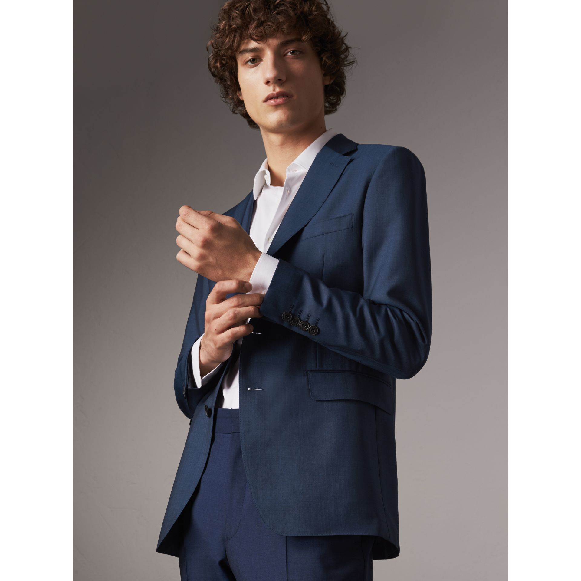 Soho Fit Wool Mohair Suit in Bright Navy - Men | Burberry - gallery image 6