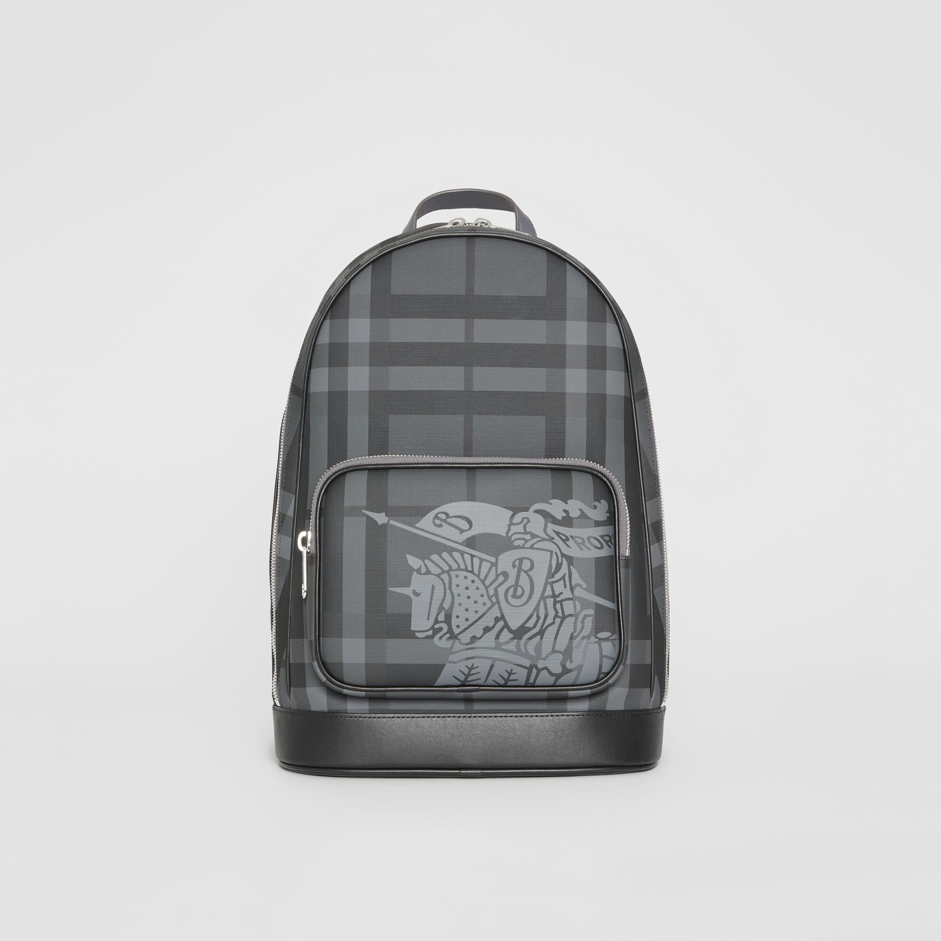 EKD London Check and Leather Backpack in Charcoal/black - Men | Burberry Singapore - gallery image 0