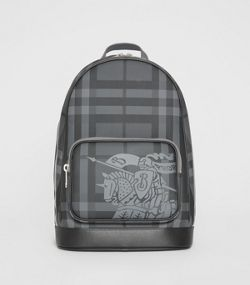 8c544c37c56a EKD London Check and Leather Backpack in Charcoal black