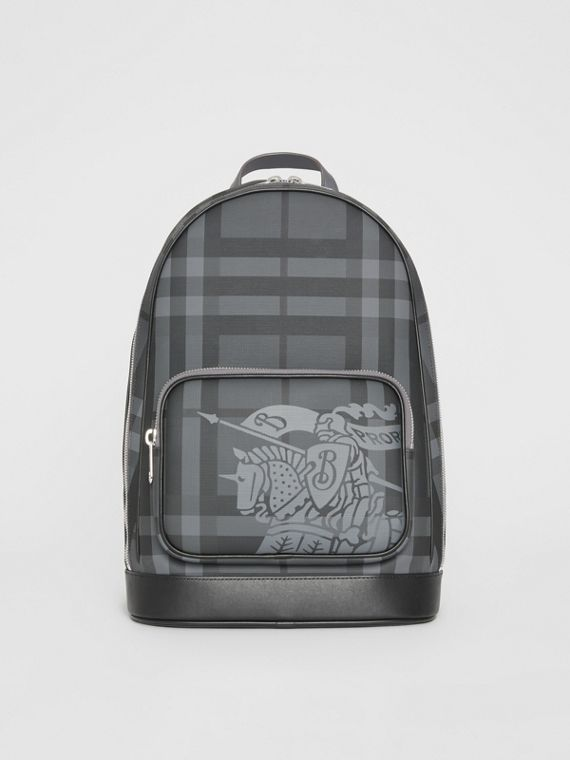 EKD London Check and Leather Backpack in Charcoal/black