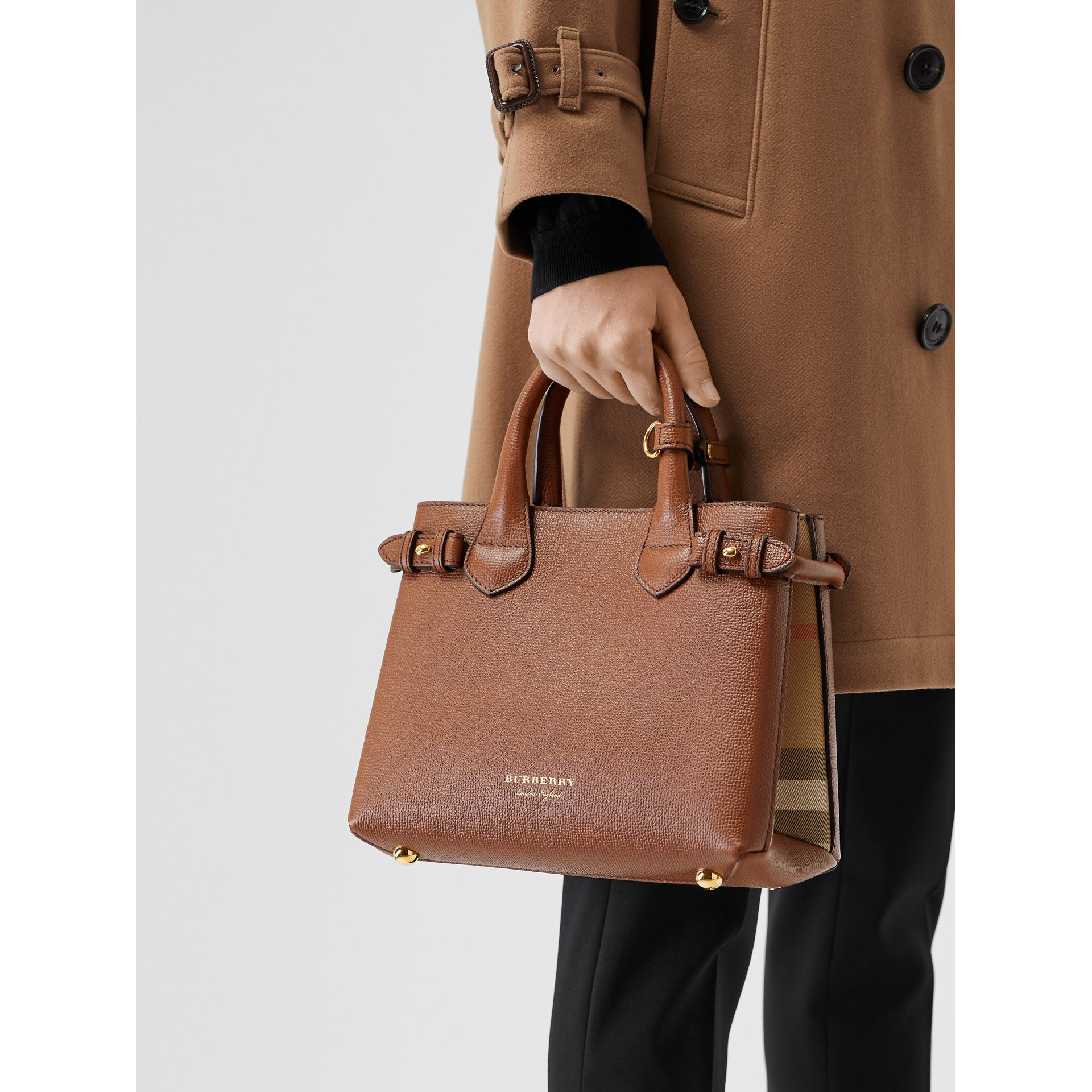 The Small Banner in Leather and House Check in Tan - Women | Burberry - gallery image 3