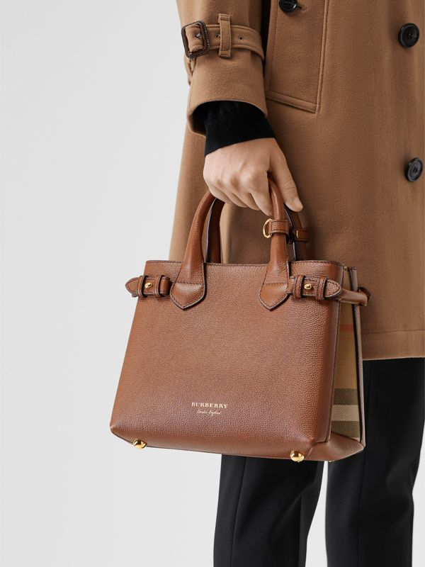 The Small Banner in Leather and House Check in Tan - Women | Burberry United States - cell image 3