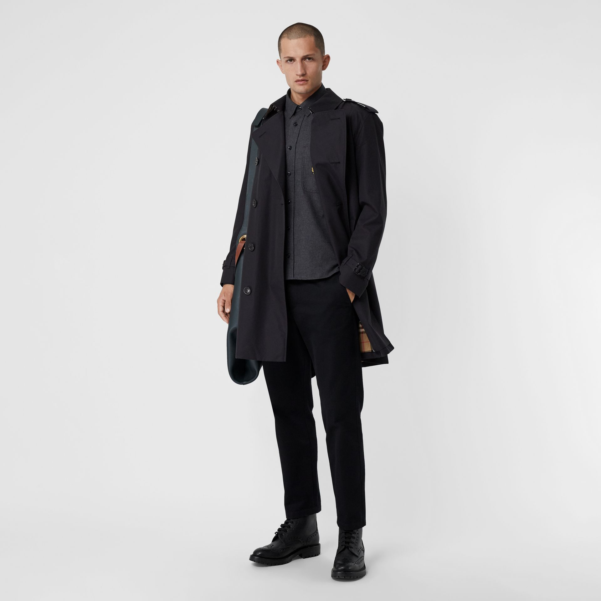 Cotton Gabardine Trench Coat with Warmer in Midnight - Men | Burberry - gallery image 0
