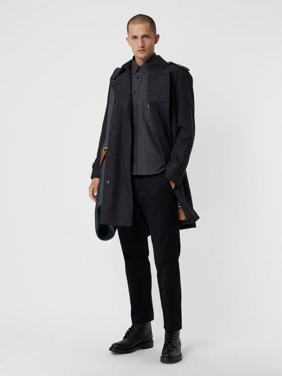 Cotton Gabardine Trench Coat with Warmer in Midnight Navy