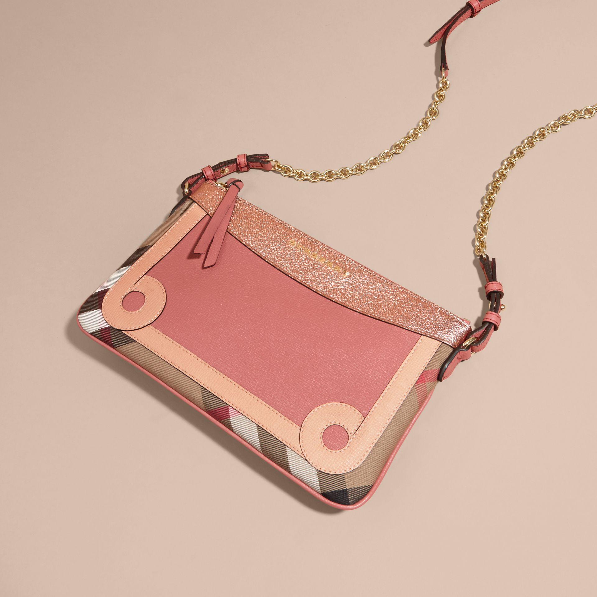 Copper pink House Check and Leather Clutch Bag Copper Pink - gallery image 8