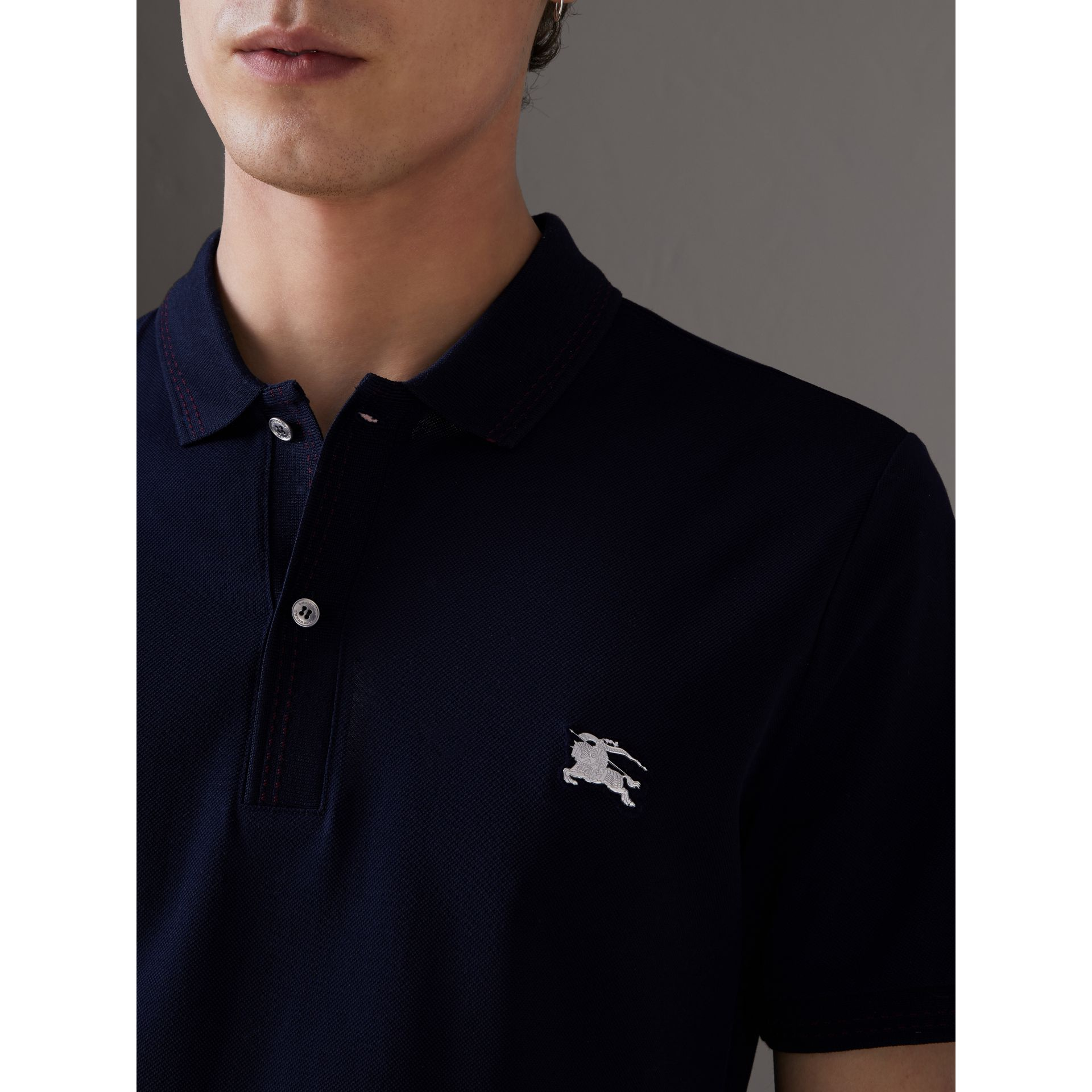 Cotton Piqué Polo Shirt in Navy - Men | Burberry - gallery image 1