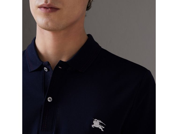Cotton Piqué Polo Shirt in Navy - Men | Burberry - cell image 1