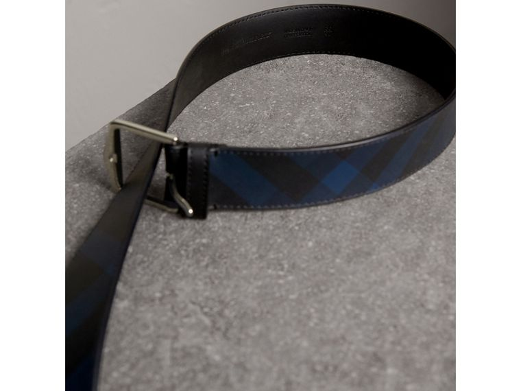 Leather Trim London Check Belt in Charcoal/black - Men | Burberry - cell image 2