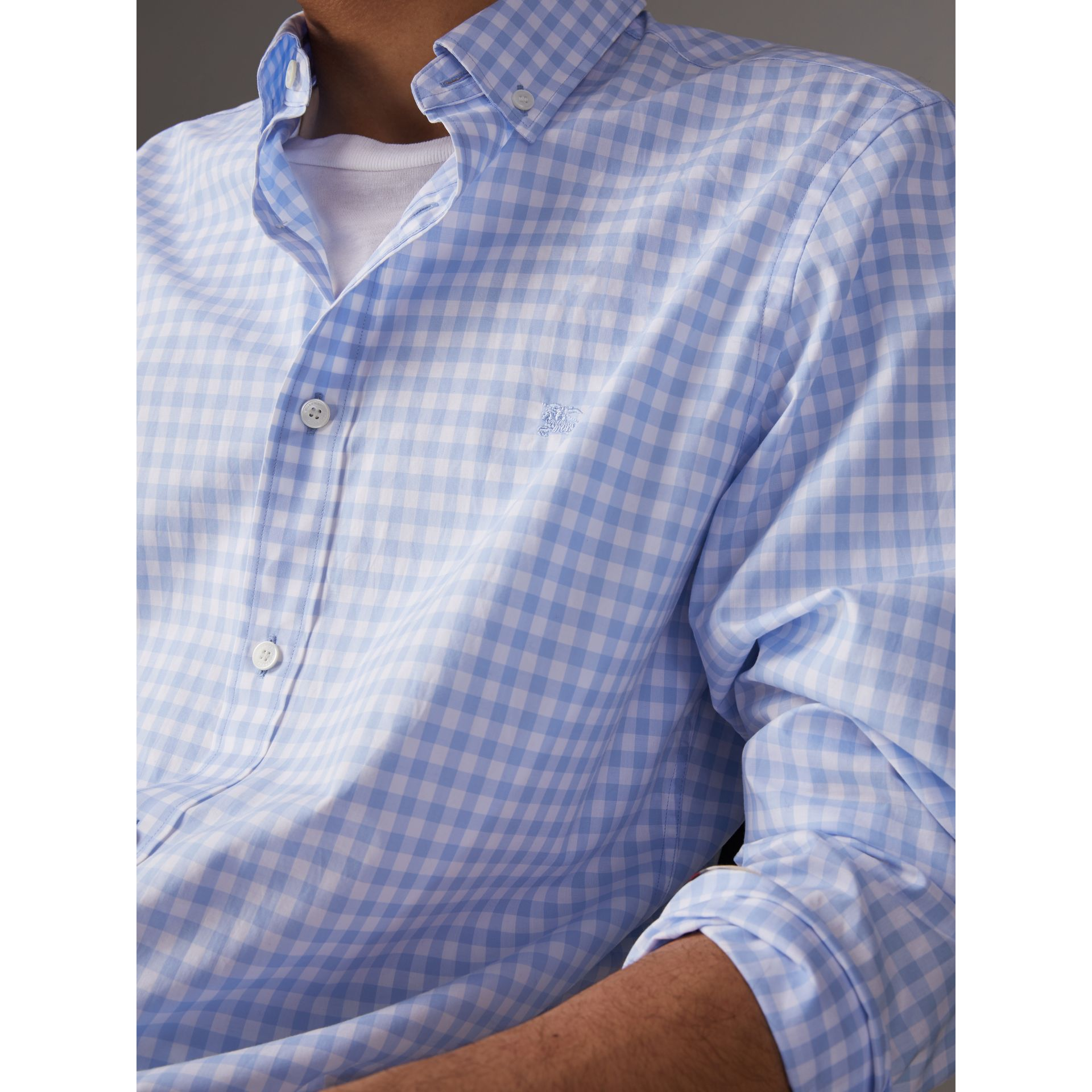 Button-down Collar Gingham Cotton Shirt in Pale Blue - Men | Burberry United Kingdom - gallery image 1