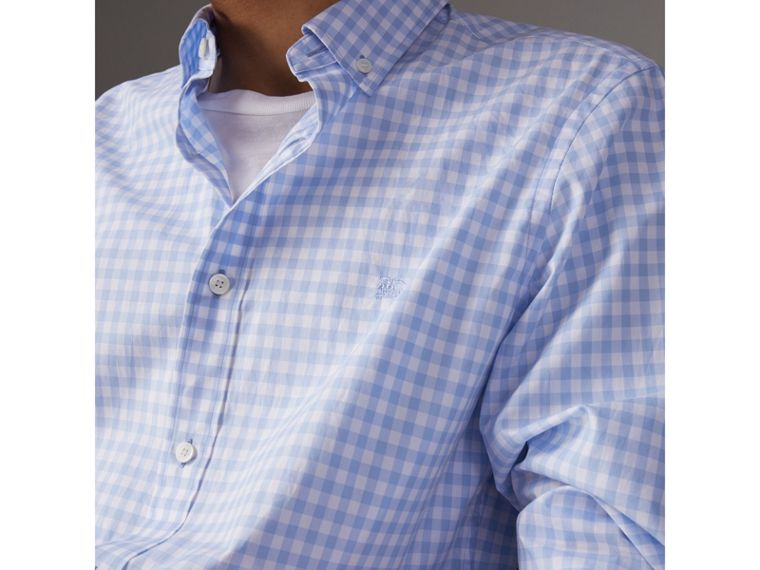 Button-down Collar Gingham Cotton Shirt in Pale Blue - Men | Burberry Australia - cell image 1